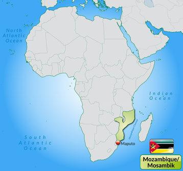 Übersichtskarte von Mosambik mit Landesflagge