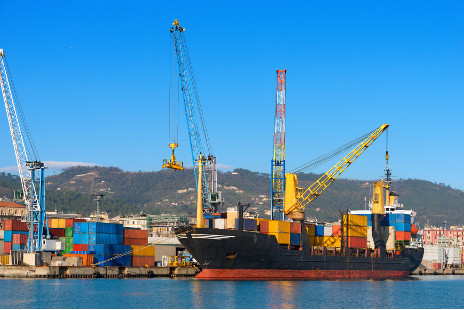 Container ship and crane in the harbor of La Spezia, Liguria, Italy