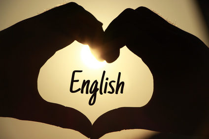 The heart shape made of hands with the word English. English Learning concept.