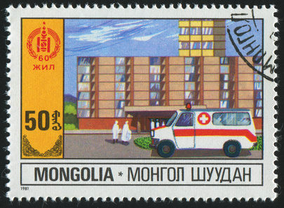 MONGOLIA - CIRCA 1981: stamp printed by Mongolia, shows retro car, circa 1981.