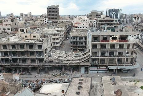 破壊されたシリアの街
